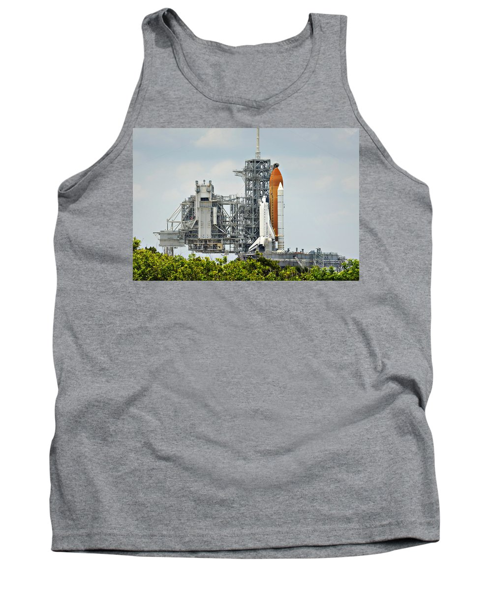 Sts Tank Top featuring the photograph Shuttle Endeavour Is Prepared For Launch by Ricky Barnard