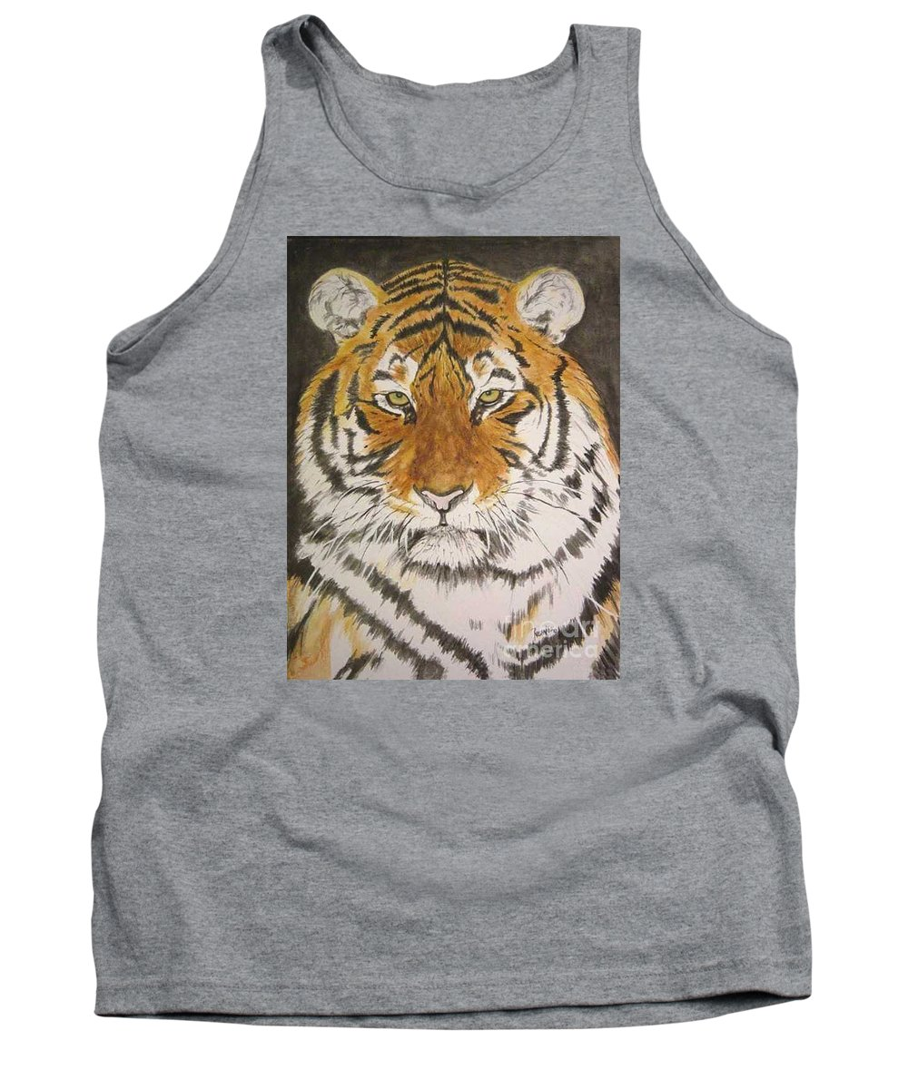 Siberian Tiger Tank Top featuring the painting Siberian Tiger by Regan J Smith
