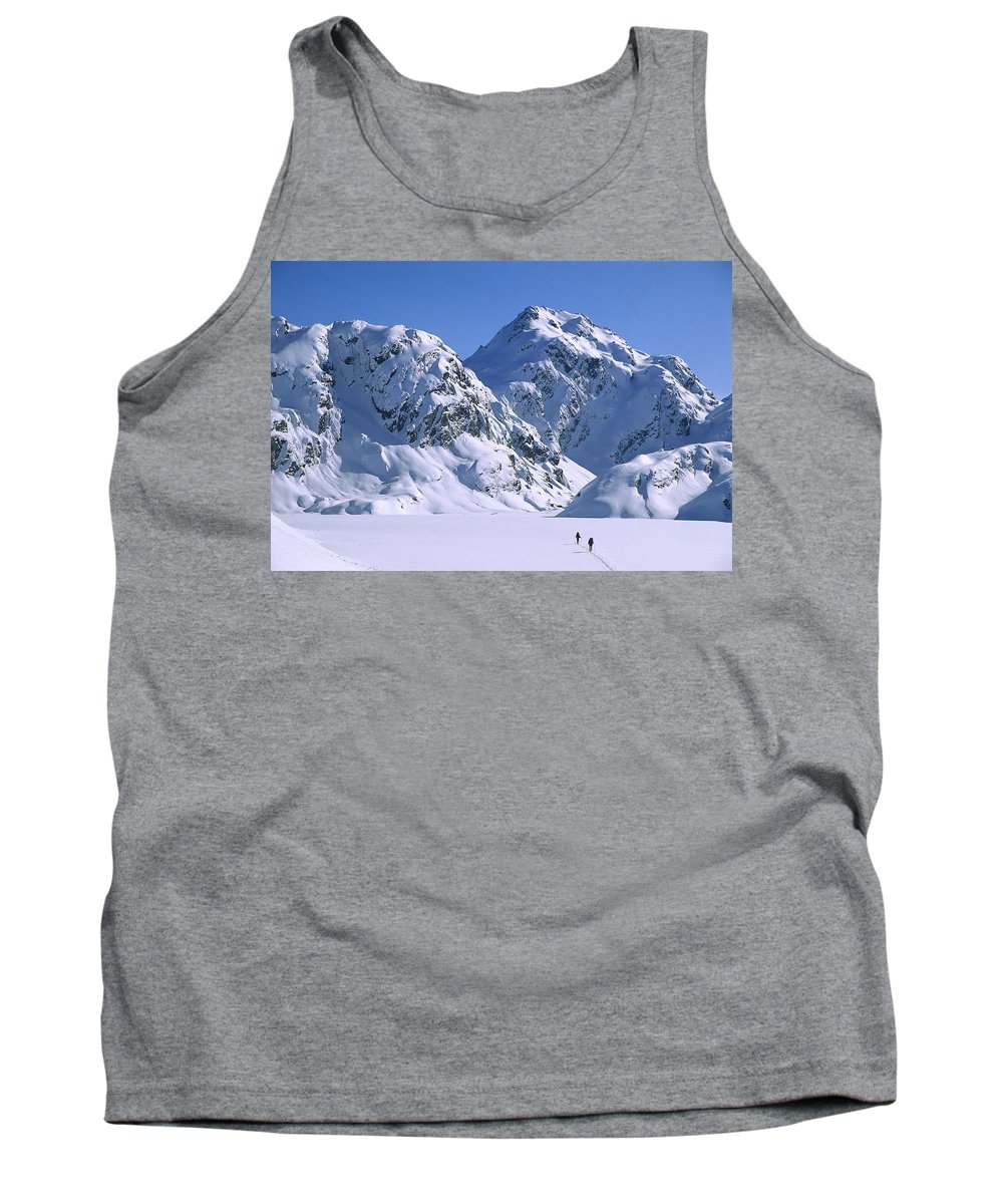 Feb0514 Tank Top featuring the photograph Skiers Cross Frozen Lake Harris by Colin Monteath