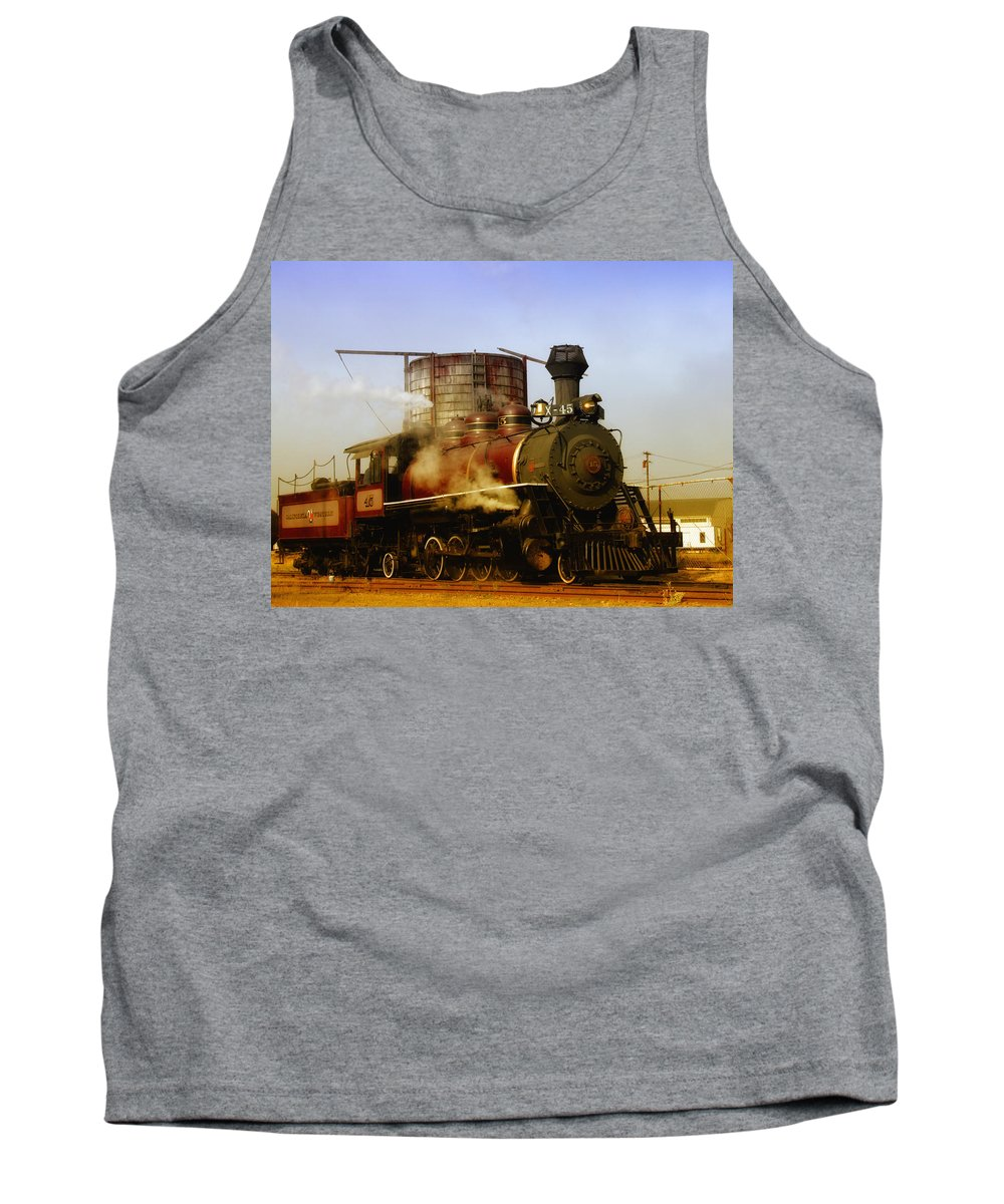 Mendocino Skunk Train Tank Top featuring the photograph Skunk Train by Donna Blackhall