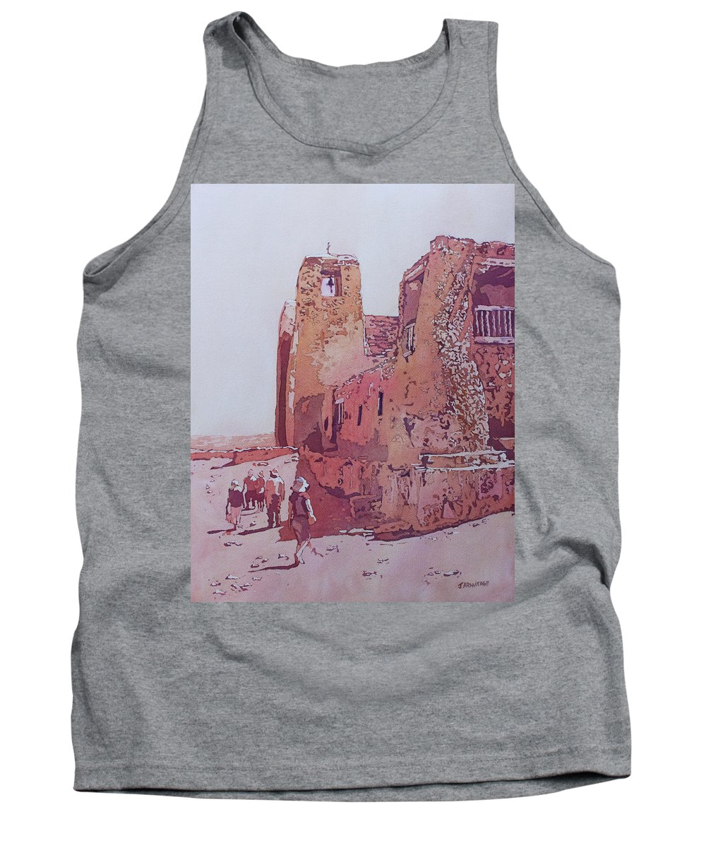 Acoma Pueblo Tank Top featuring the painting Sky City Mission by Jenny Armitage