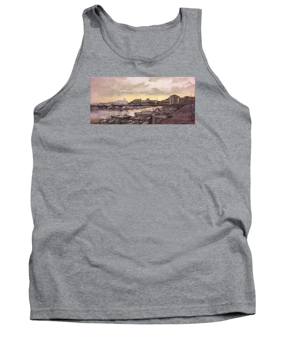 Small Port Tank Top featuring the painting Small-port Santander by Tomas Castano