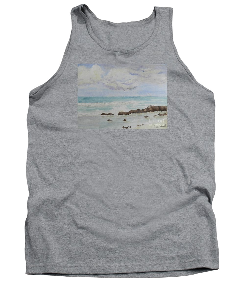Impressionism Tank Top featuring the painting Small Waves Breaking Near Rocks by Pamela Meredith