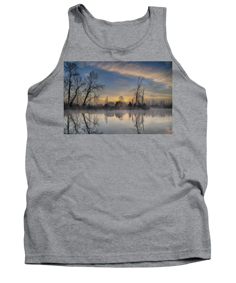 Snohomish Tank Top featuring the photograph Dawn On The Snohomish by Paul Fell