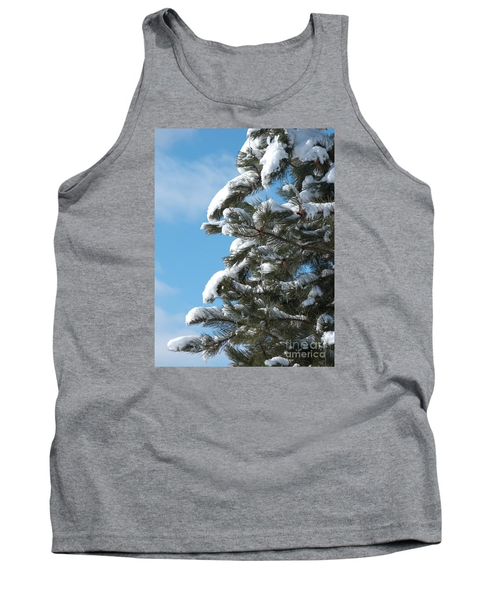 Snow Tank Top featuring the photograph Snow-clad Pine by Ann Horn