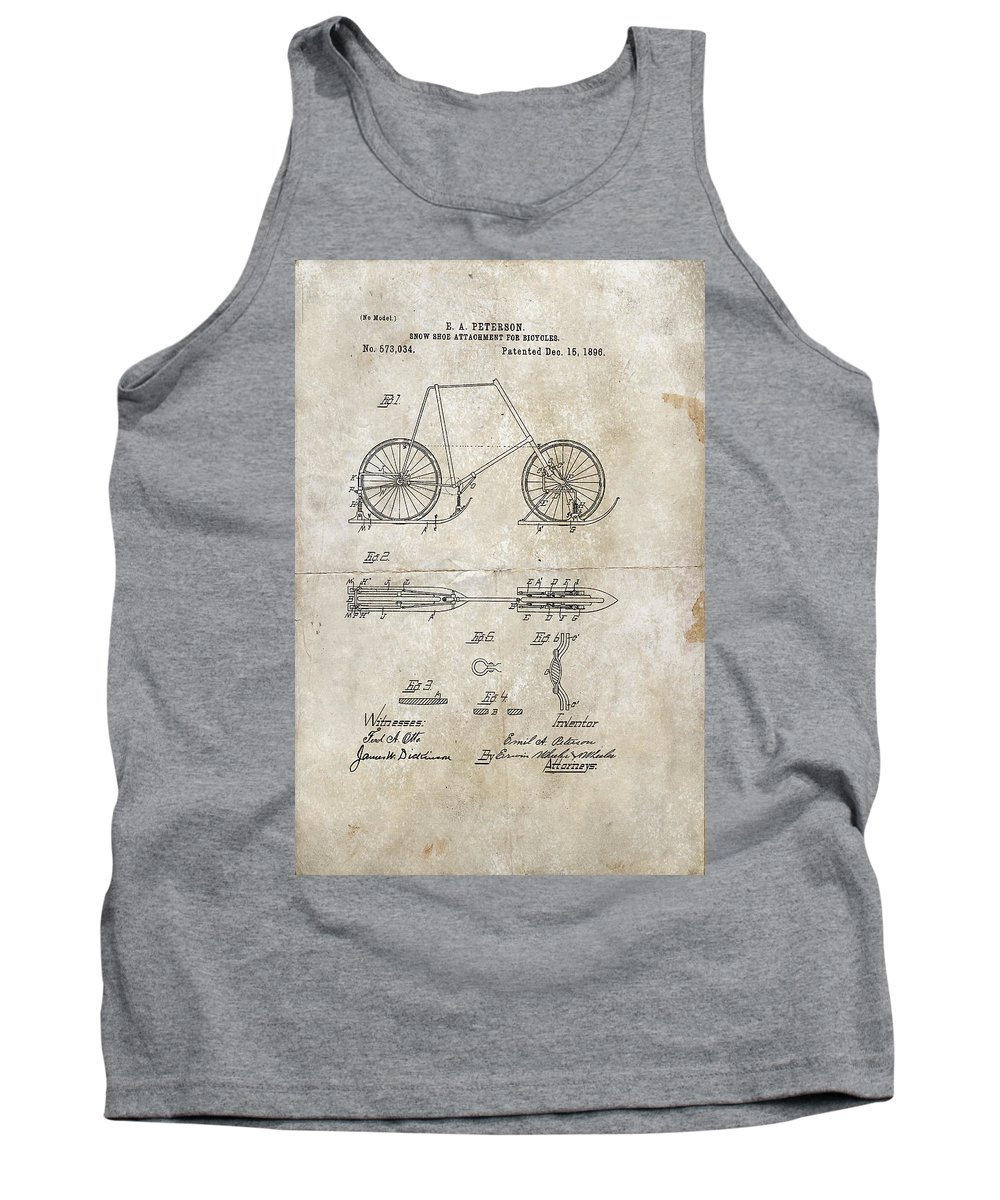 Wright Tank Top featuring the digital art Snow Shoe Attachment For Bicycles Patent 1896 by Paulette B Wright