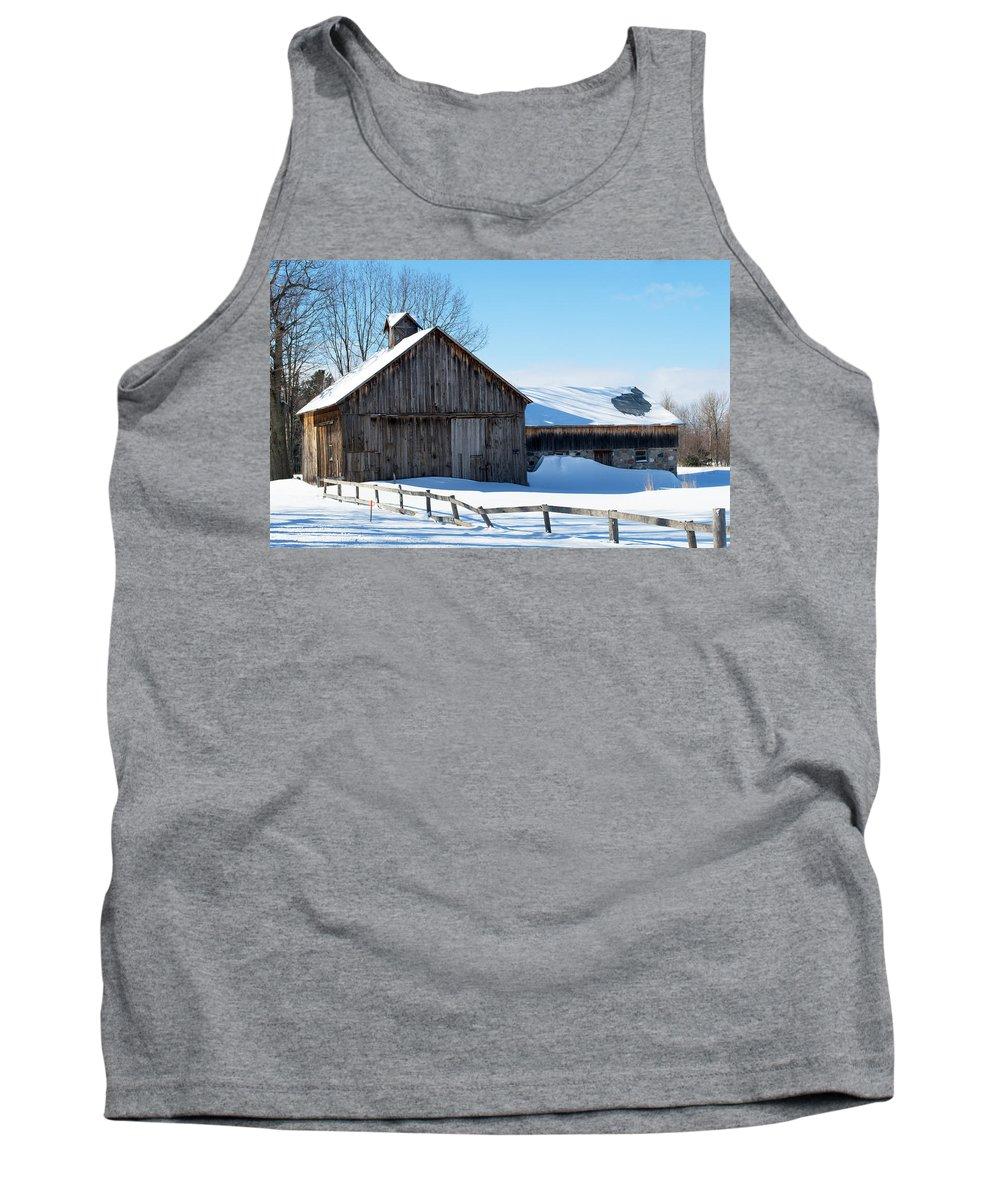 Michigan Tank Top featuring the photograph Snowy Barn by Linda Kerkau
