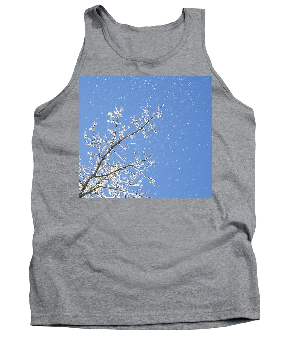 Blue Sky Tank Top featuring the photograph Snowy Day by Chris Knorr