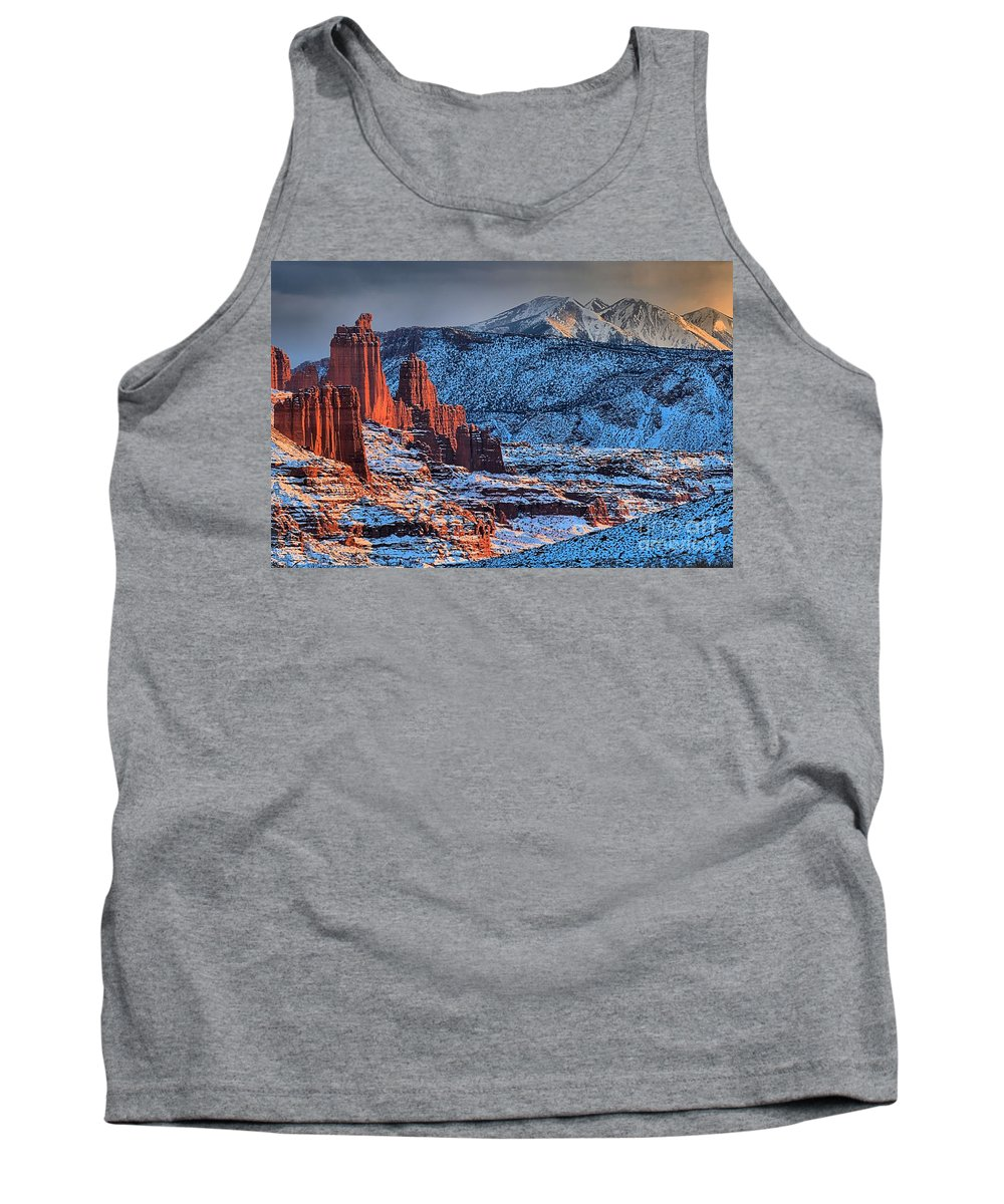 Fisher Towers Tank Top featuring the photograph Snowy Fisher Towers by Adam Jewell