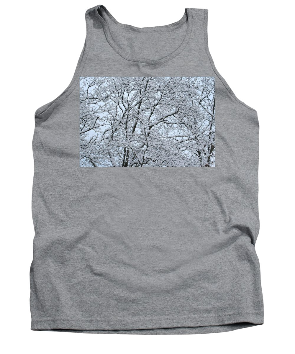 Snow Tank Top featuring the photograph Snowy Tree Limb Maze by Cody Cookston