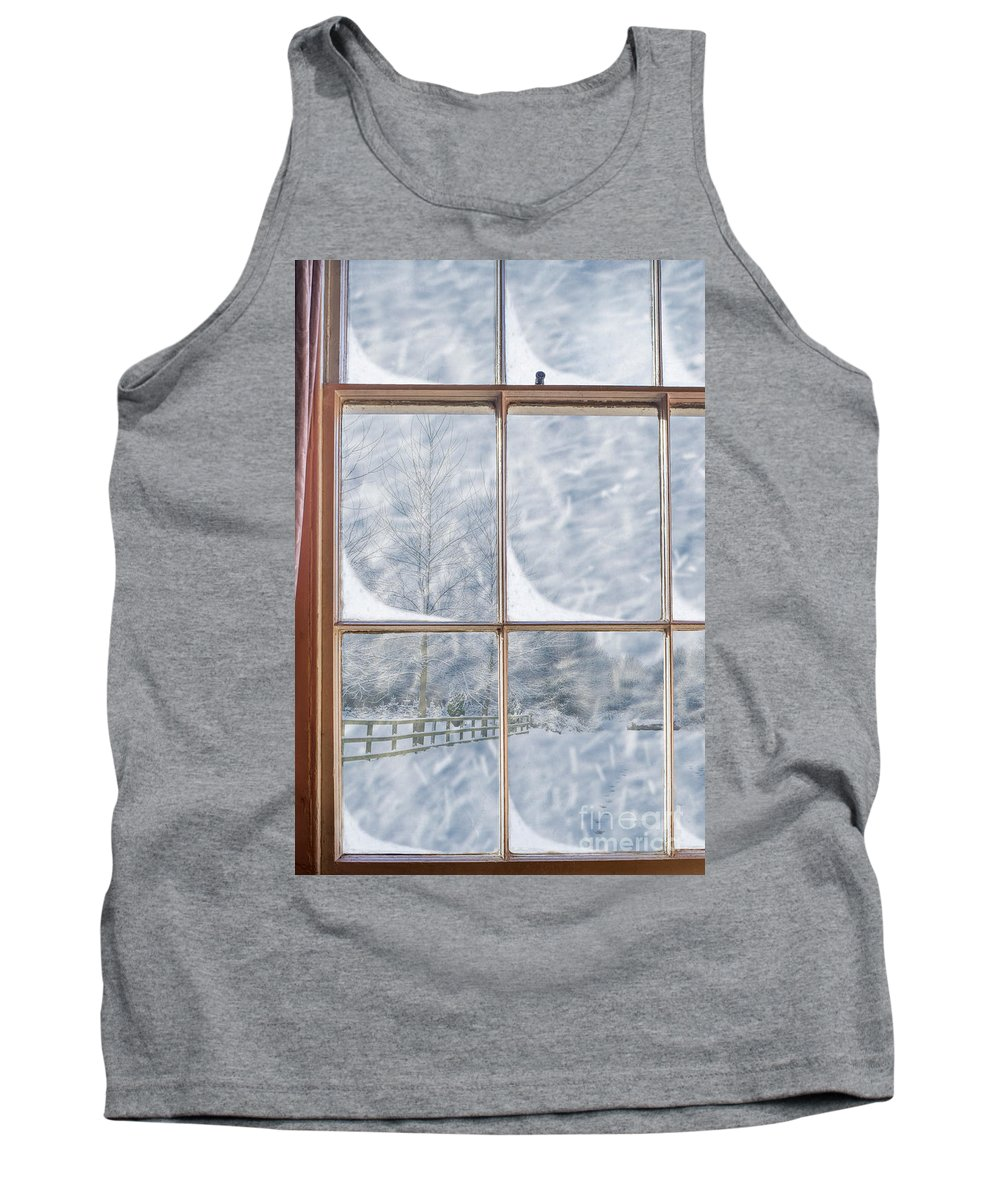 Old Tank Top featuring the photograph Snowy Window by Amanda Elwell