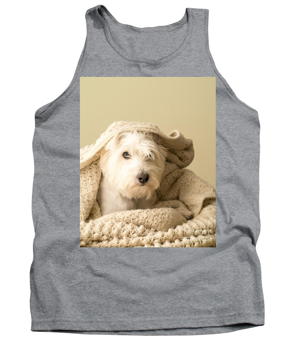 Westie Tank Top featuring the photograph Snuggle Dog by Edward Fielding