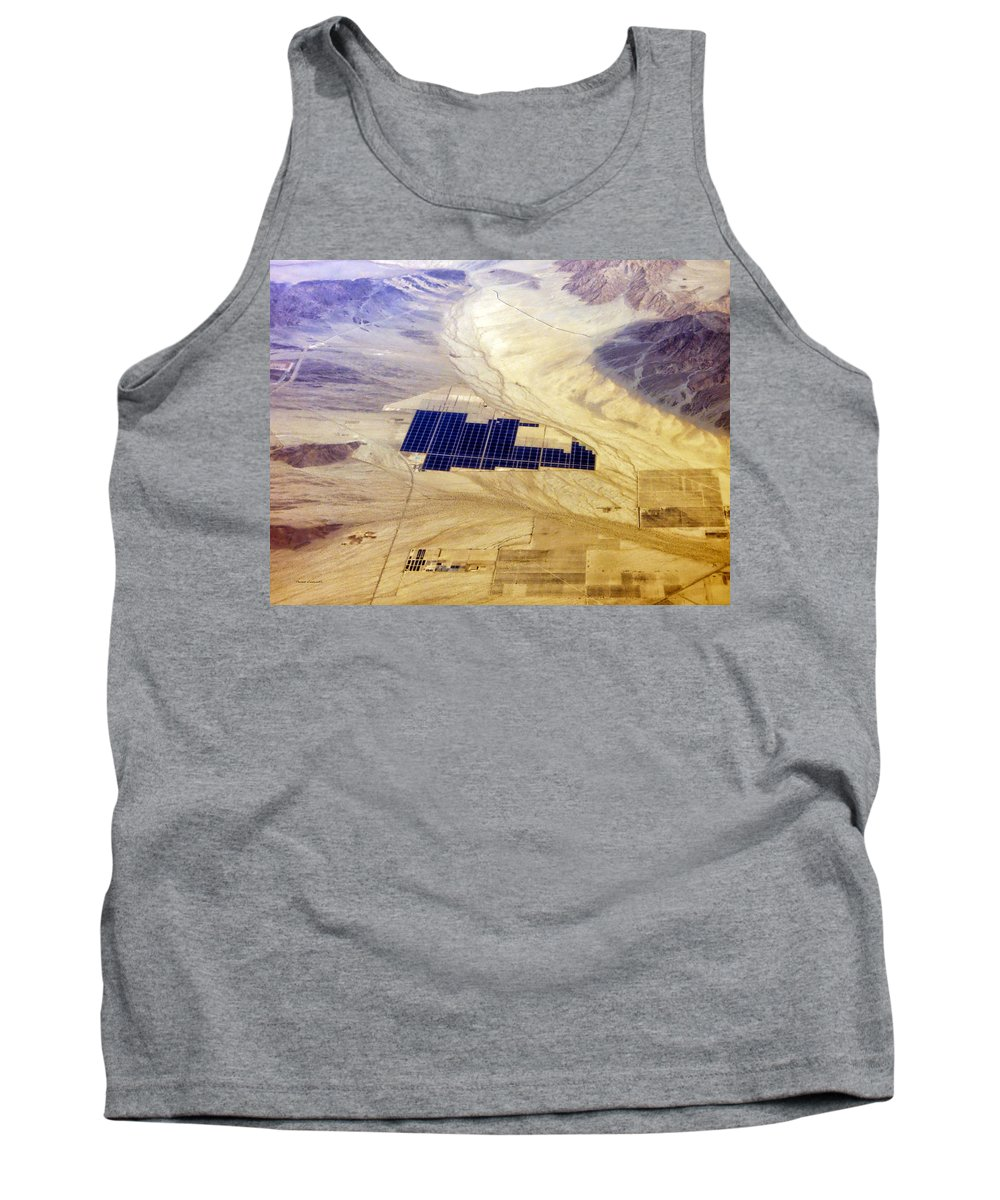Solar Panels Tank Top featuring the photograph Solar Panels Aerial View by Thomas Woolworth
