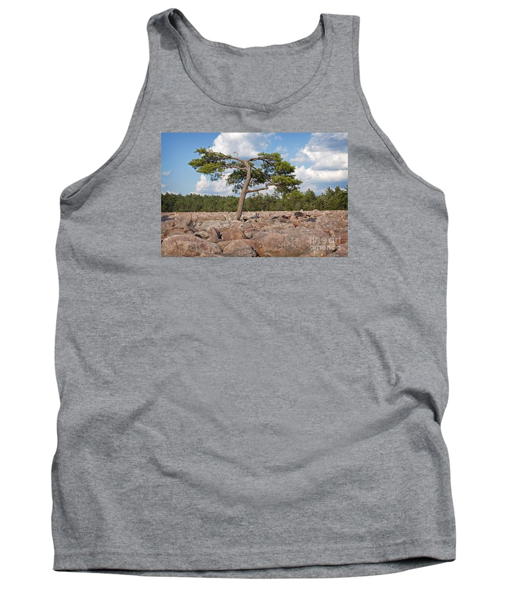 Boulders Tank Top featuring the photograph Solitary Tree Amidst Field Of Boulders by John Stephens