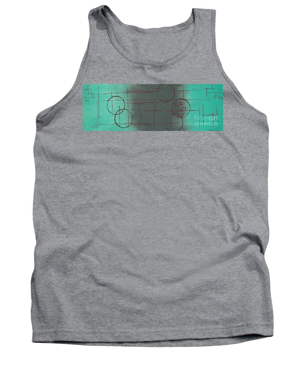 Space Tank Top featuring the painting Space Configuration by Paulette B Wright