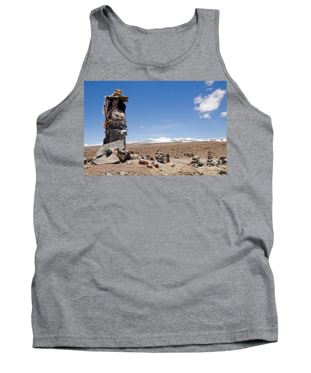 Cairns Tank Top featuring the photograph Spiritual Cairn In The Peruvian Altiplano by Ralf Broskvar