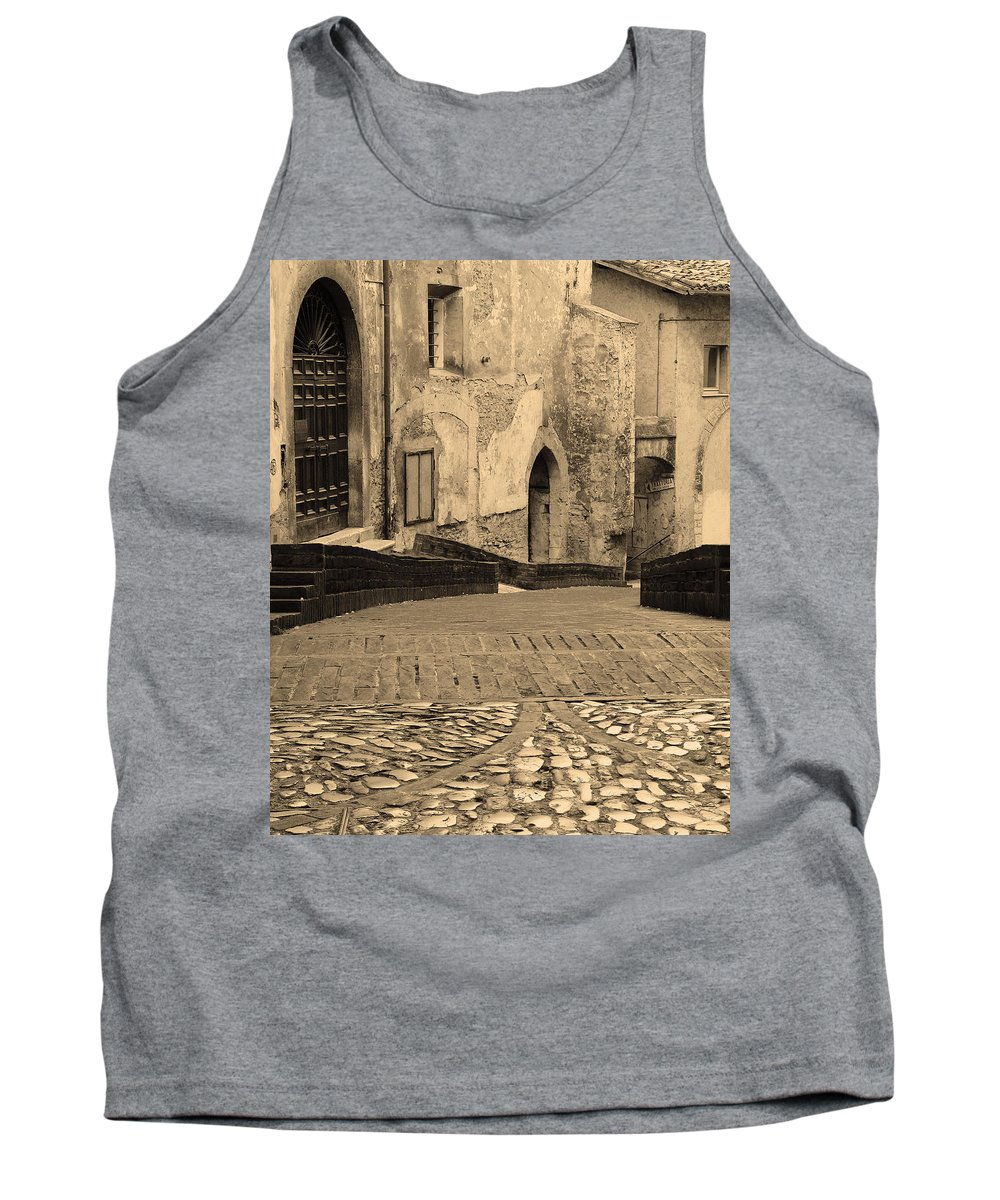 Sepia Tank Top featuring the photograph Spoleto Street 3 In Umbria Italy by Greg Matchick