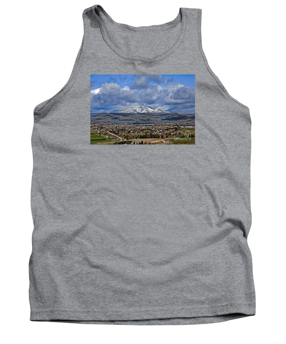 Gem County Tank Top featuring the photograph Spring Snow On Squaw Butte by Robert Bales