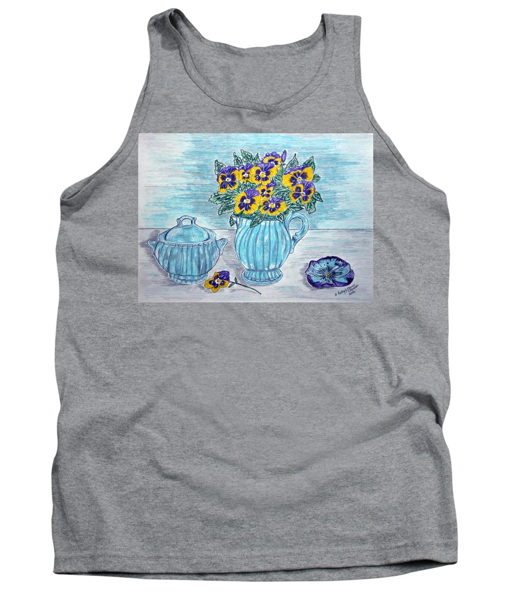 Stangl Pottery Tank Top featuring the painting Stangl Pottery And Pansies by Kathy Marrs Chandler