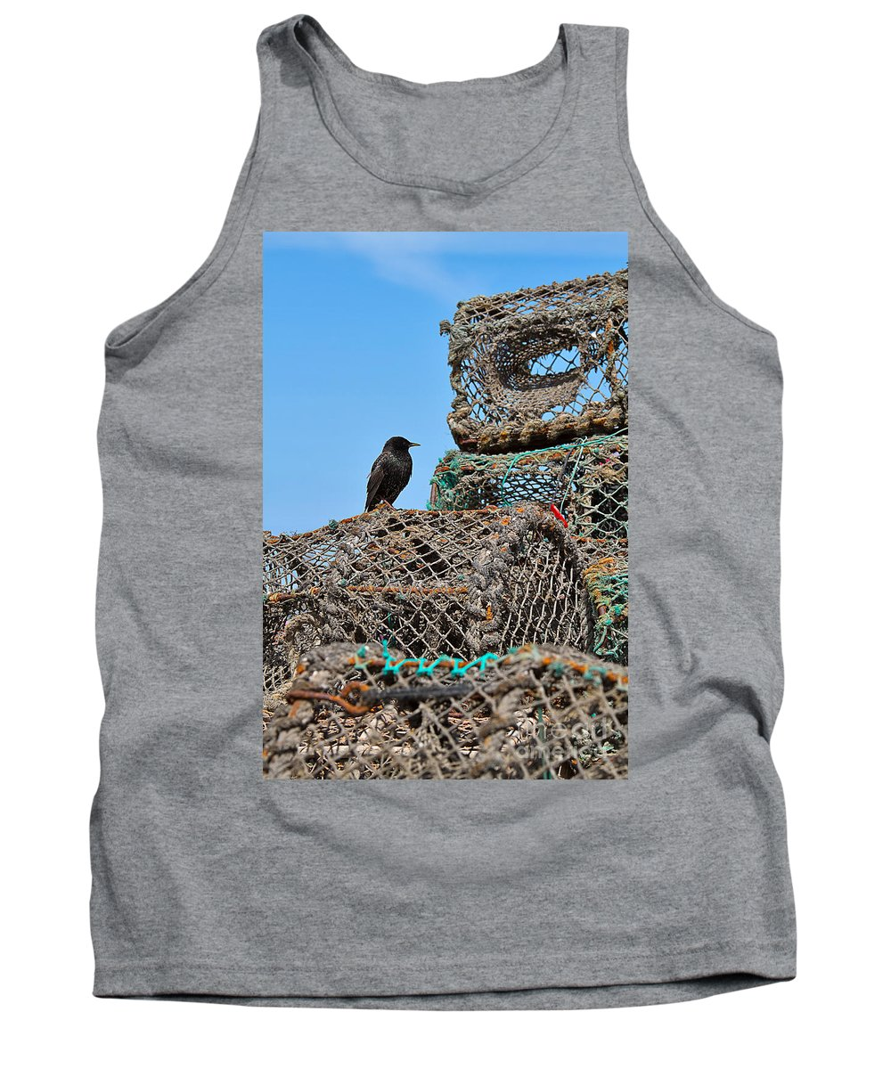 Starling Tank Top featuring the photograph Starling On Lobster Pots by Louise Heusinkveld