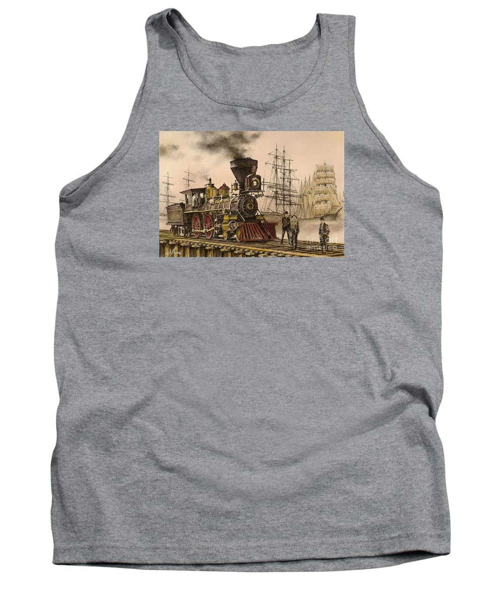 Railroad History Tank Top featuring the painting Steam And Sail by James Williamson