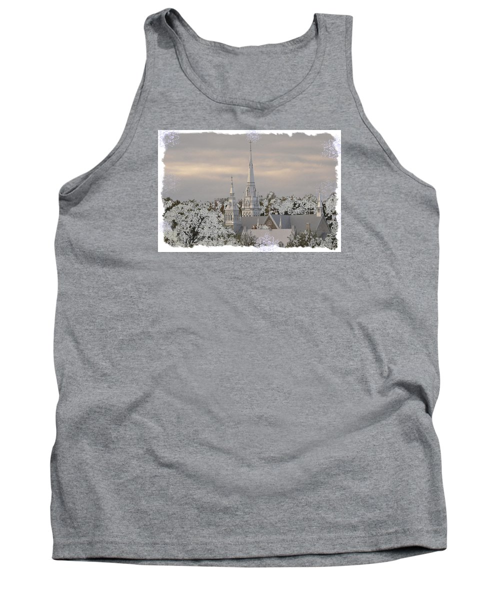White Tank Top featuring the photograph Steeples In The Snow by Nadalyn Larsen