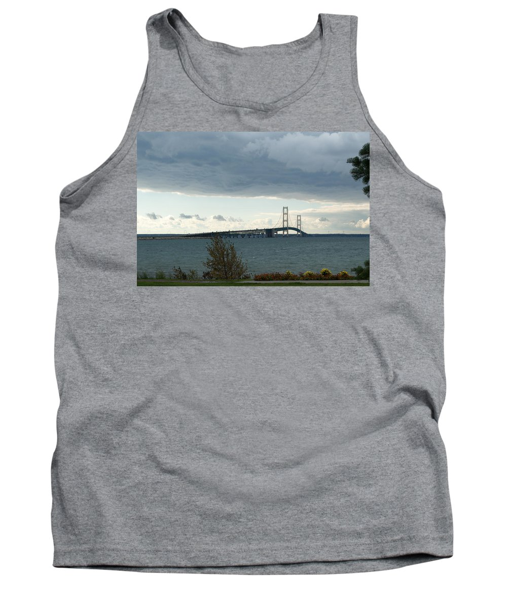 Clouds Tank Top featuring the photograph Storm Over Bridge by Linda Kerkau