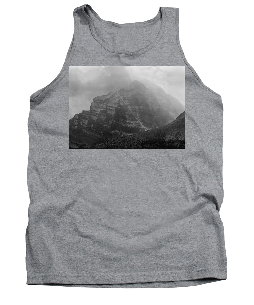Storm Tank Top featuring the photograph 1m3556-bw-storm Raging Over Mt. Temple by Ed Cooper Photography