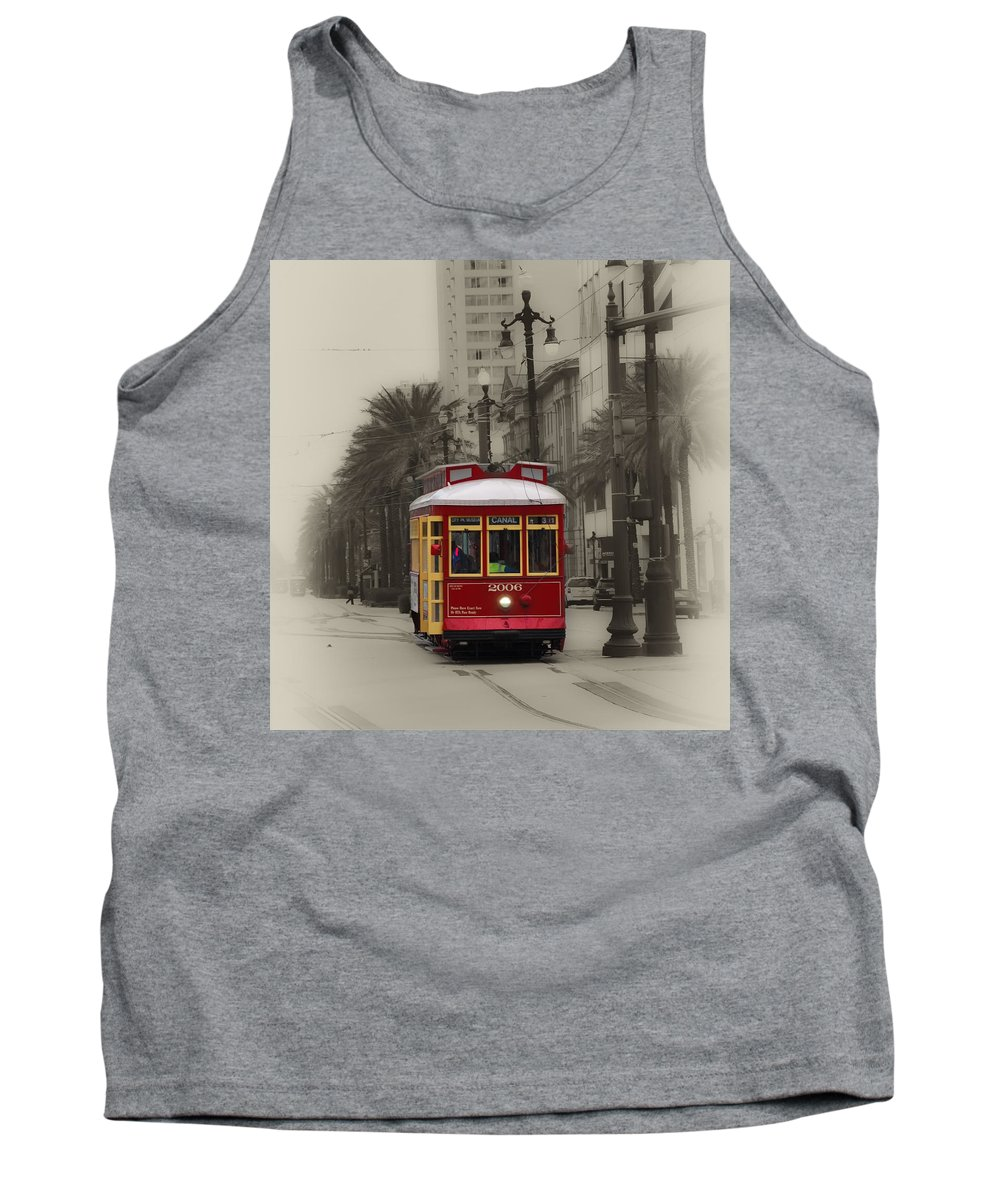 Canal Tank Top featuring the photograph Streetcar On Canal Street - New Orleans by Bill Cannon