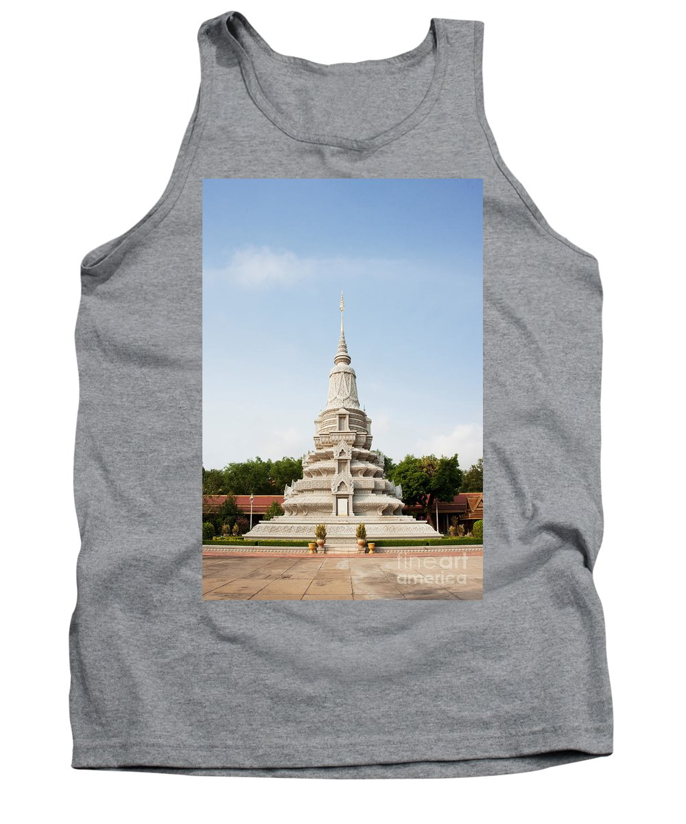 Building Tank Top featuring the photograph Stupa At The Silver Pagoda, Cambodia by David Davis