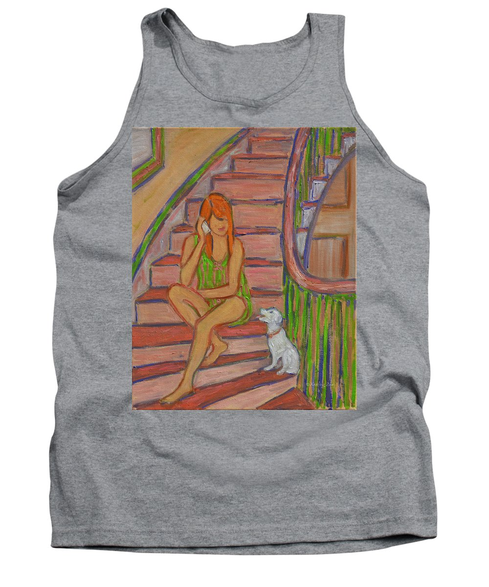 Girl Tank Top featuring the painting Summer Chat by Xueling Zou