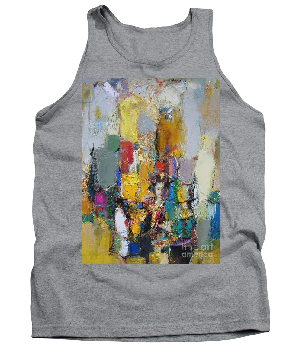 Figurative Tank Top featuring the painting Summer In Japan Town by Grigor Malinov