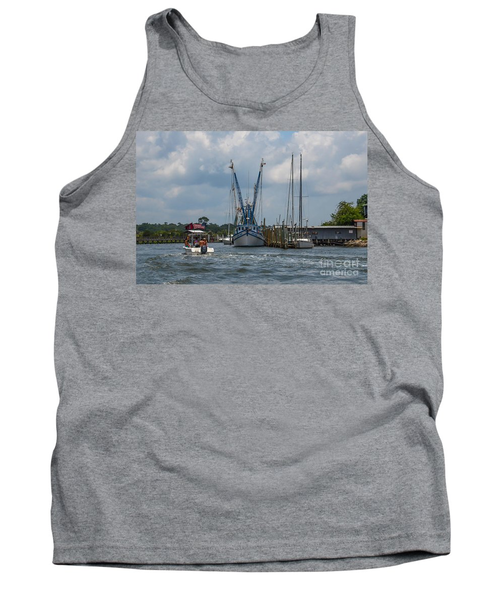 Shem Creek Tank Top featuring the photograph Summer Time Boating by Dale Powell