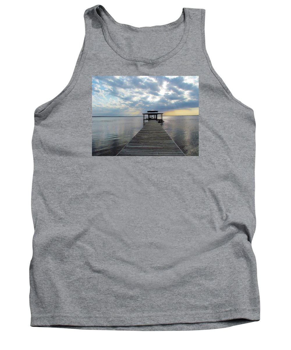 Sun Tank Top featuring the photograph Sun Rays On The Lake by Cynthia Guinn