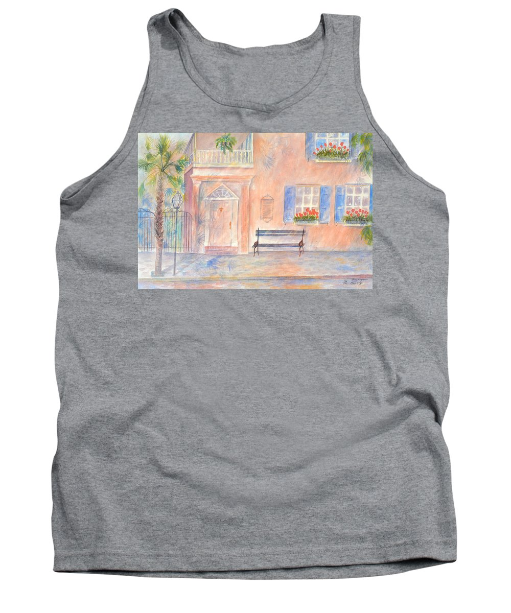 Charleston; Low Country; Palmetto Tree Tank Top featuring the painting Sunday Morning In Charleston by Ben Kiger