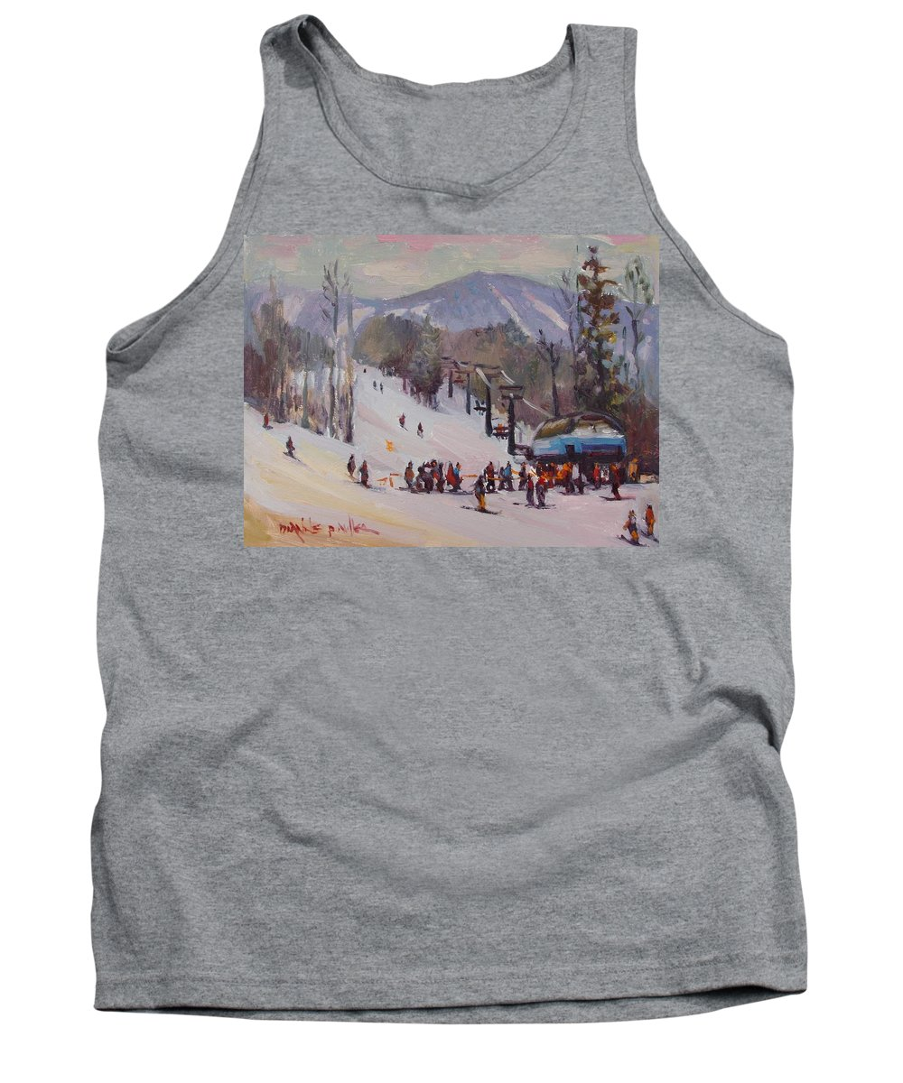 Sunday River Tank Top featuring the painting Sunday Skiing by Dianne Panarelli Miller