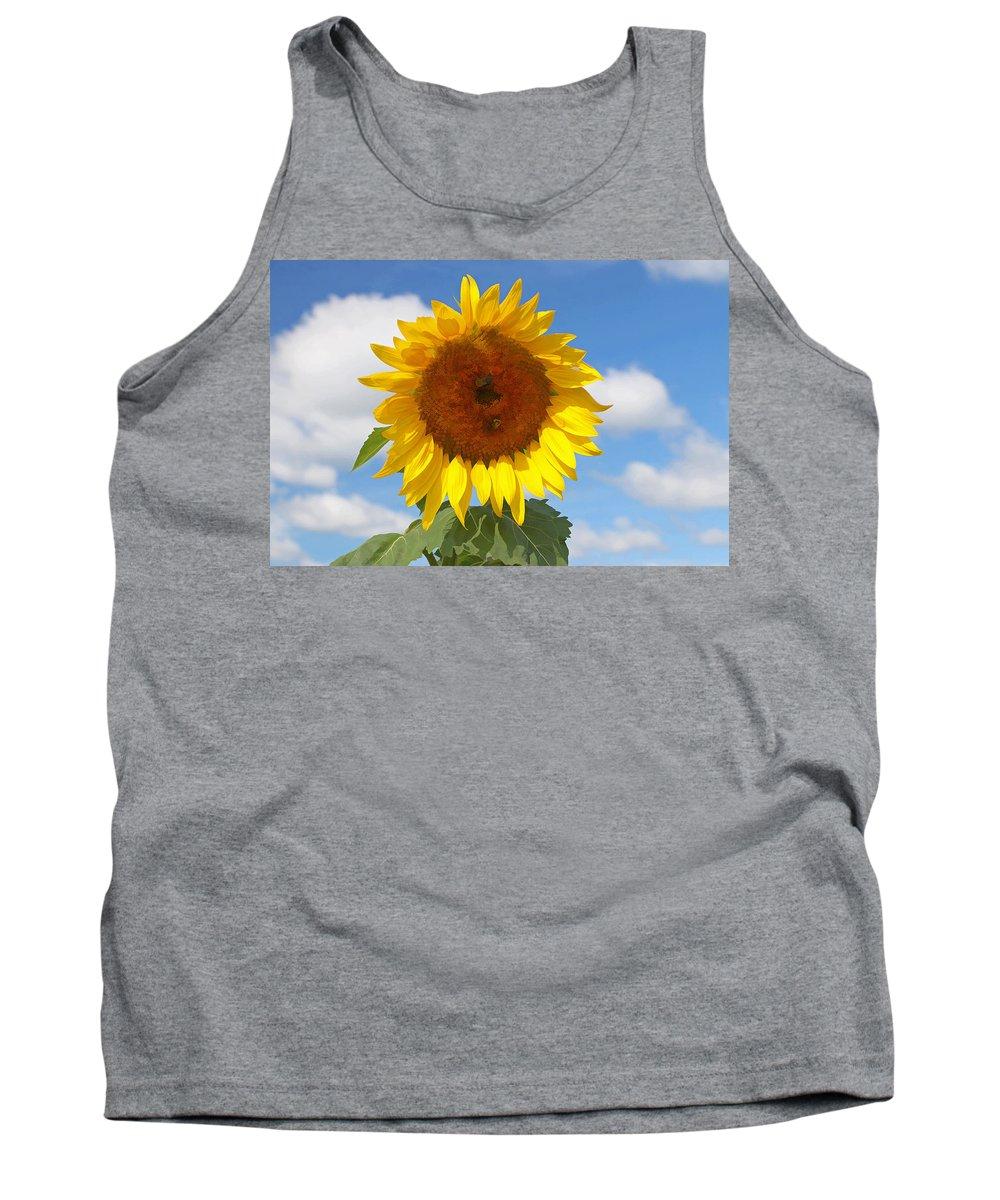 Yellow Tank Top featuring the photograph Sunflower Nirvana 30 by Allen Beatty