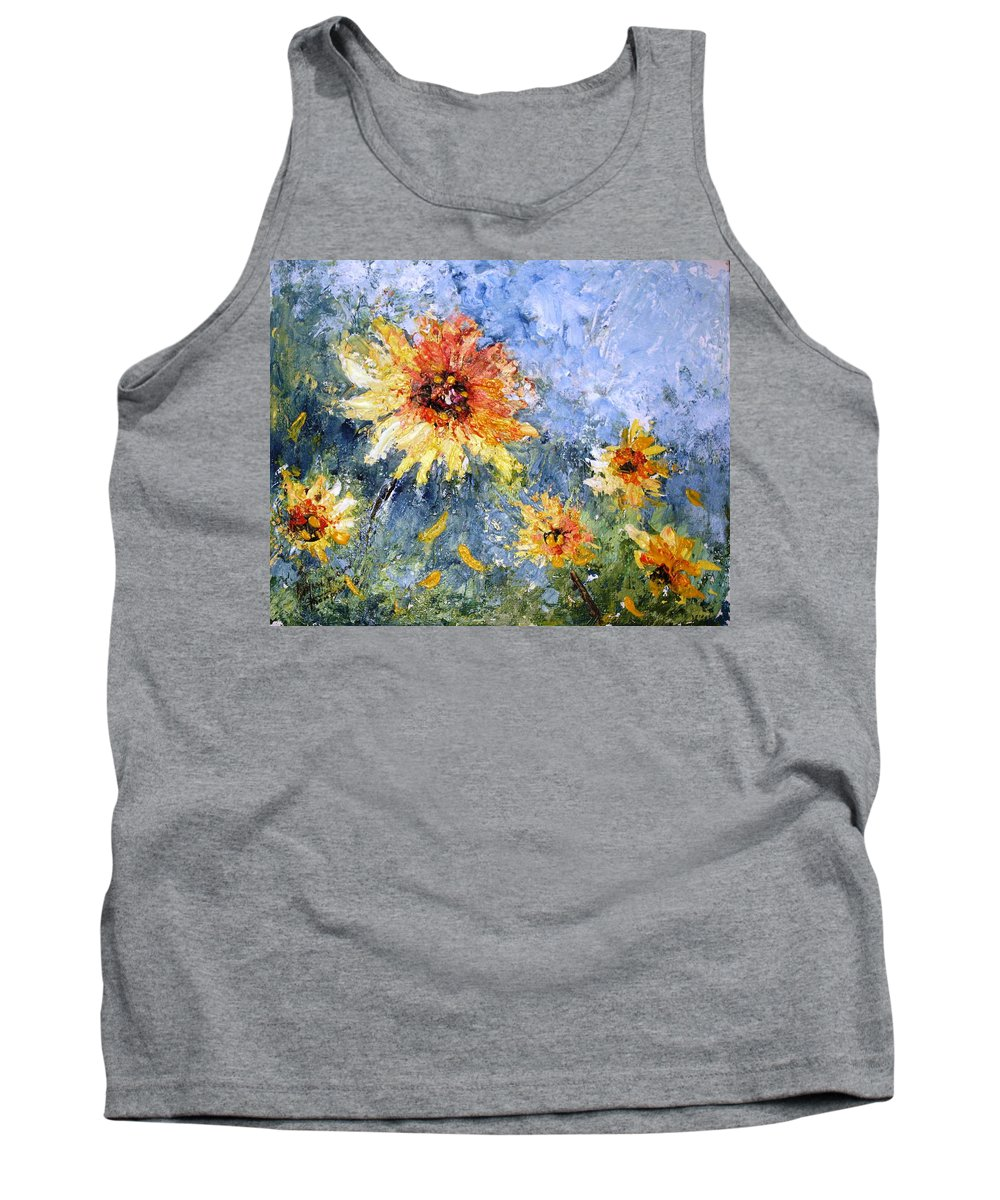 Sunflowers Tank Top featuring the painting Sunflowers In Bloom by Mary Spyridon Thompson