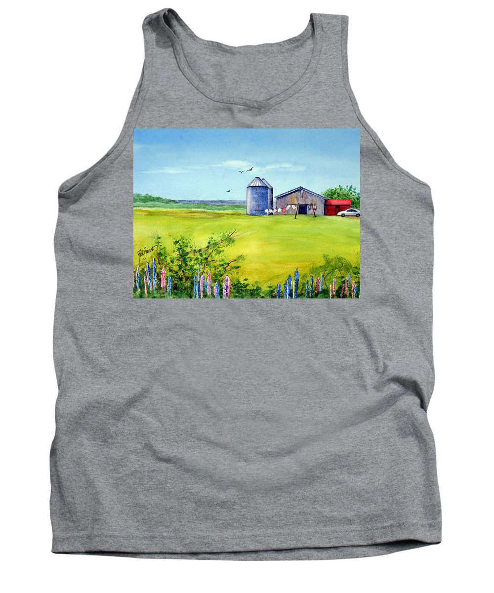 Prince Edward Island Tank Top featuring the painting Sunkissed And Windblown Lupines And Laundry In Pei by Ruth Bodycott