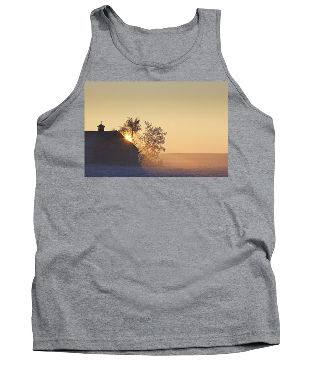 Alberta Tank Top featuring the photograph Sunlight Shining Behind A House In A by Steve Nagy