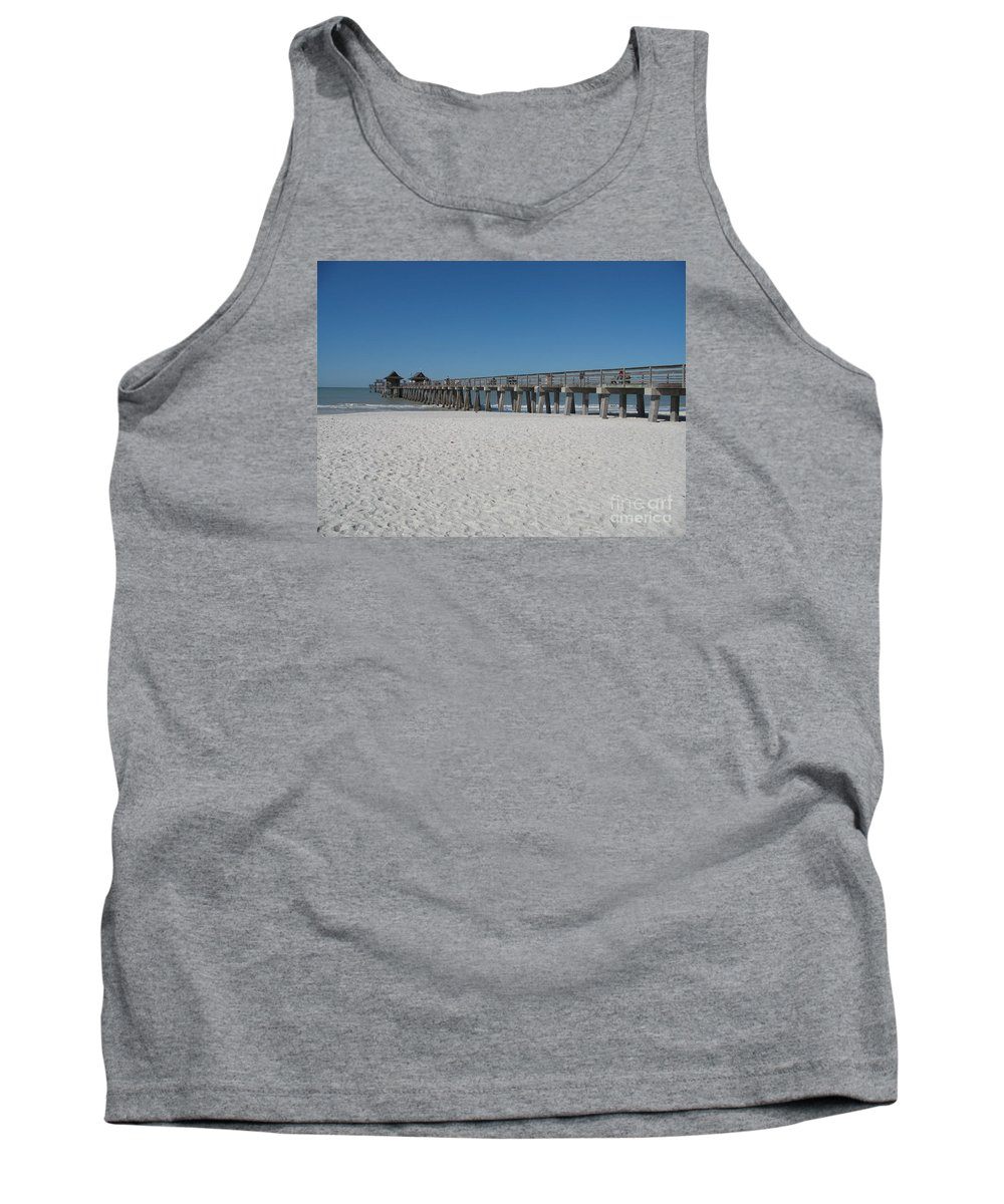 Pier Tank Top featuring the photograph Sunny Day At Naples Pier by Christiane Schulze Art And Photography