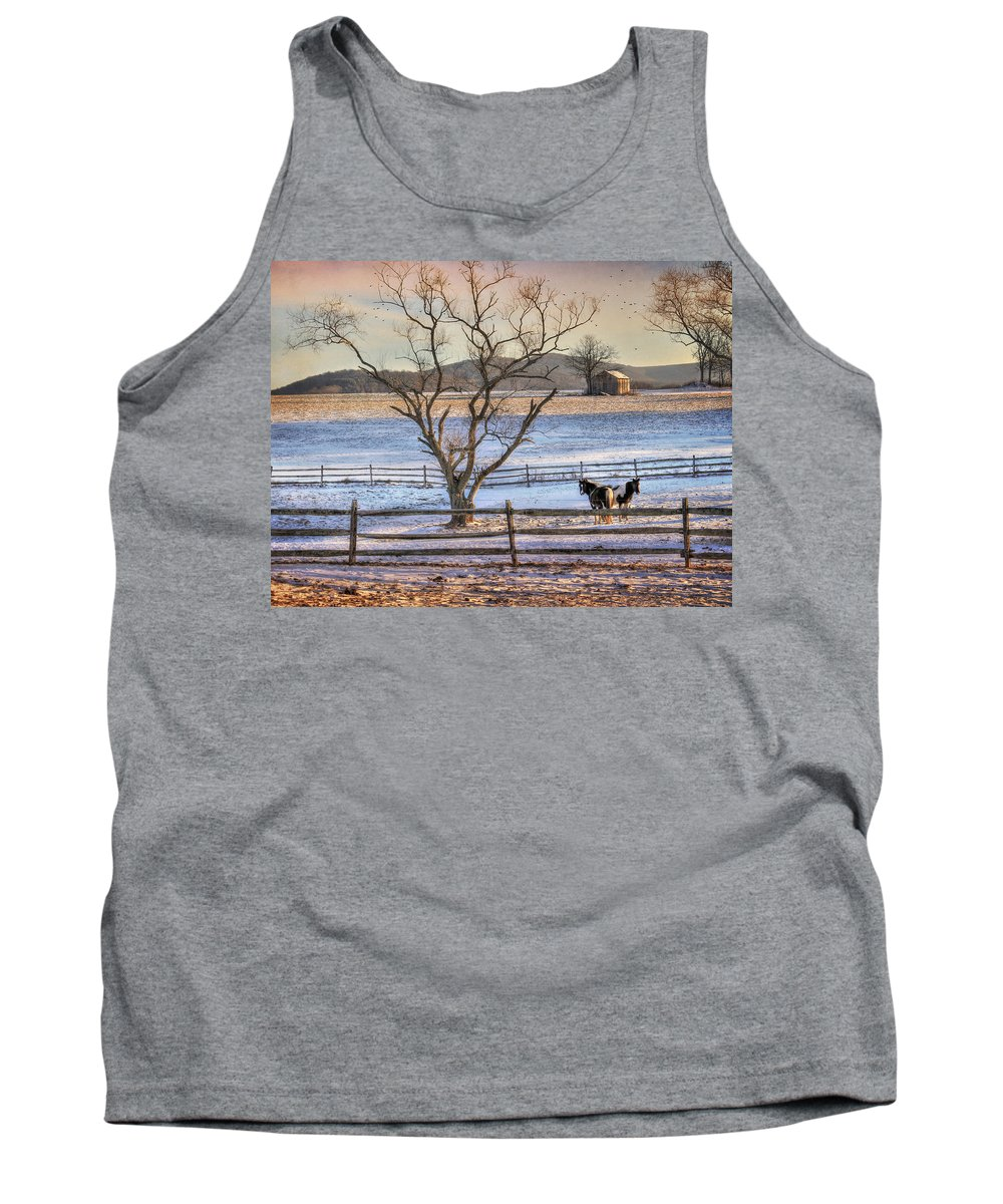Country Tank Top featuring the photograph Sunrise In Hegins by Lori Deiter