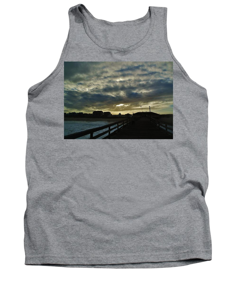 Mark Lemmon Cape Hatteras Nc The Outer Banks Photographer Subjects From Sunrise Tank Top featuring the photograph Sunset Avon Pier 1 10/15 by Mark Lemmon