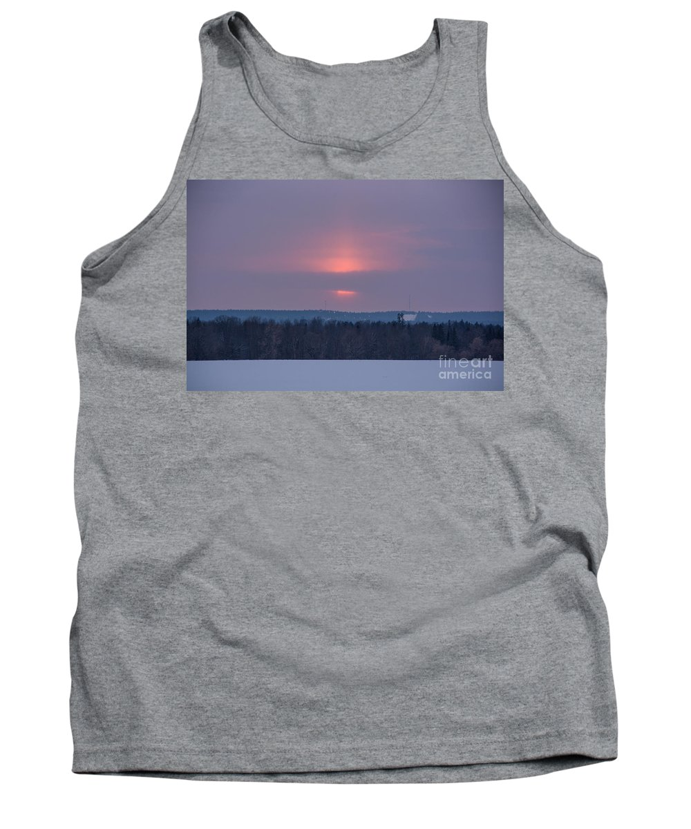 Pink Tank Top featuring the photograph Sunset On A Cloudy Winter Day by Cheryl Baxter