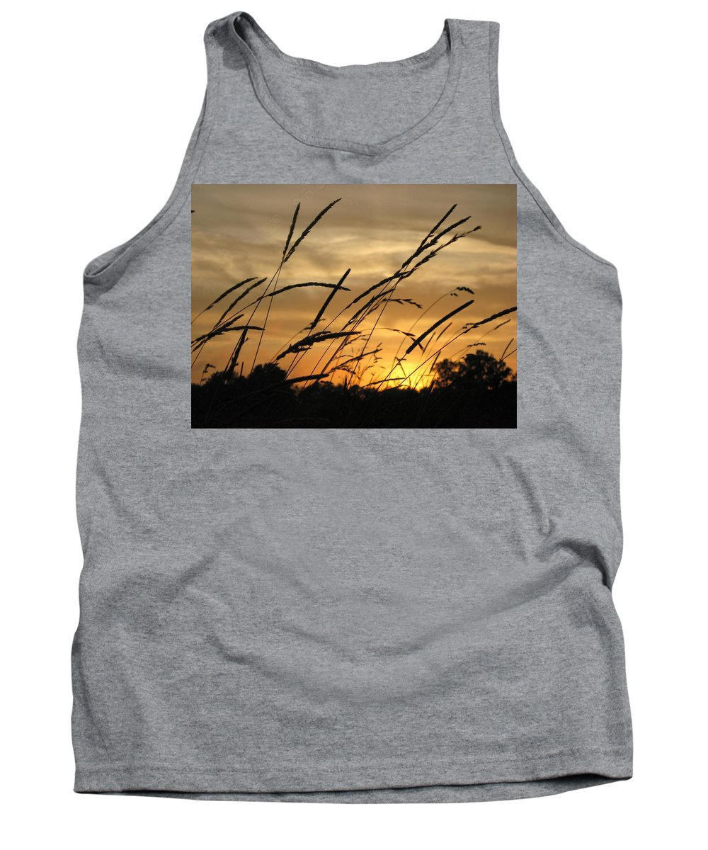Grass Tank Top featuring the photograph Sunset Sentinels by Carolyn Jacob
