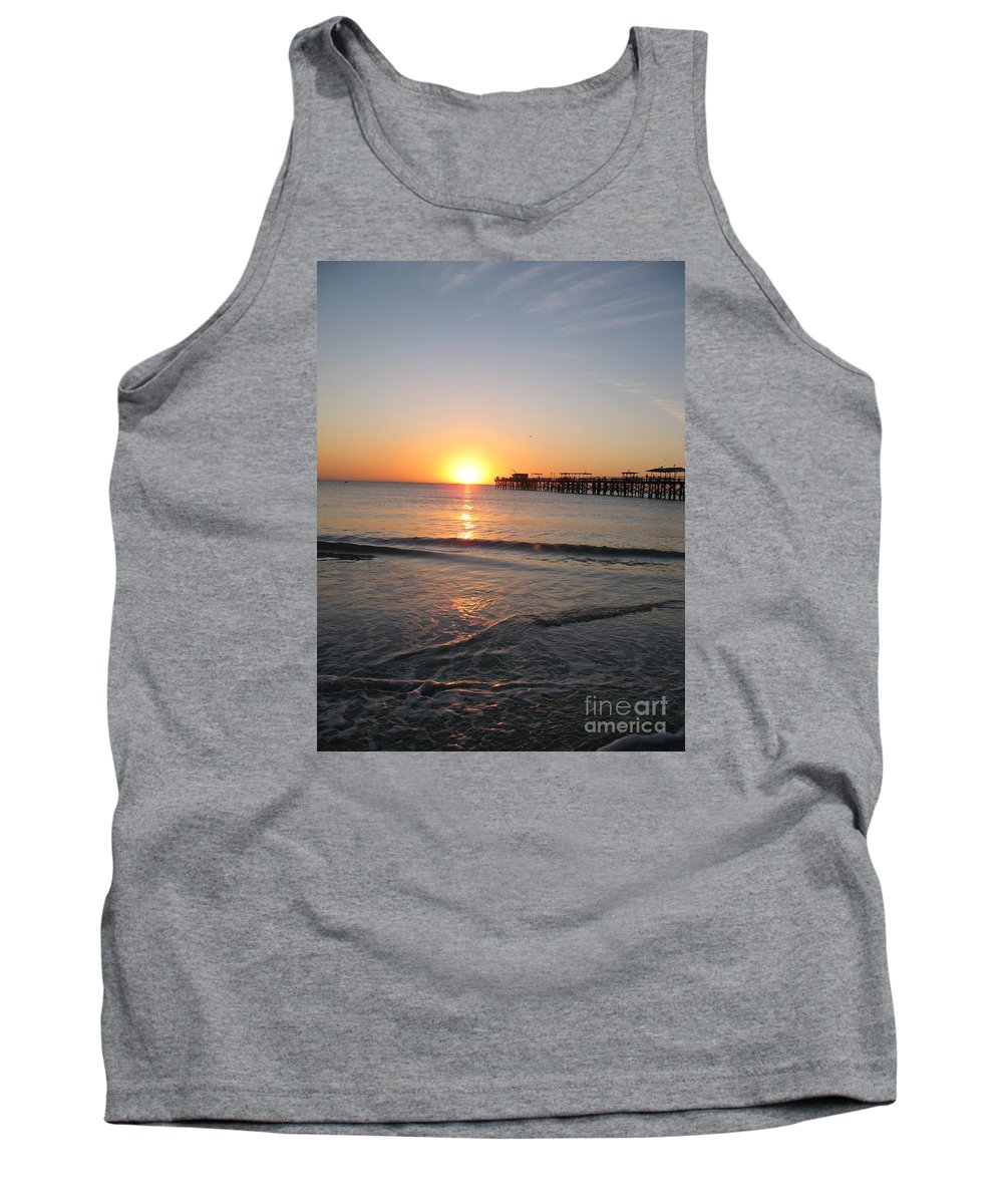 Sunset Tank Top featuring the photograph Fishingpier Sunset by Christiane Schulze Art And Photography