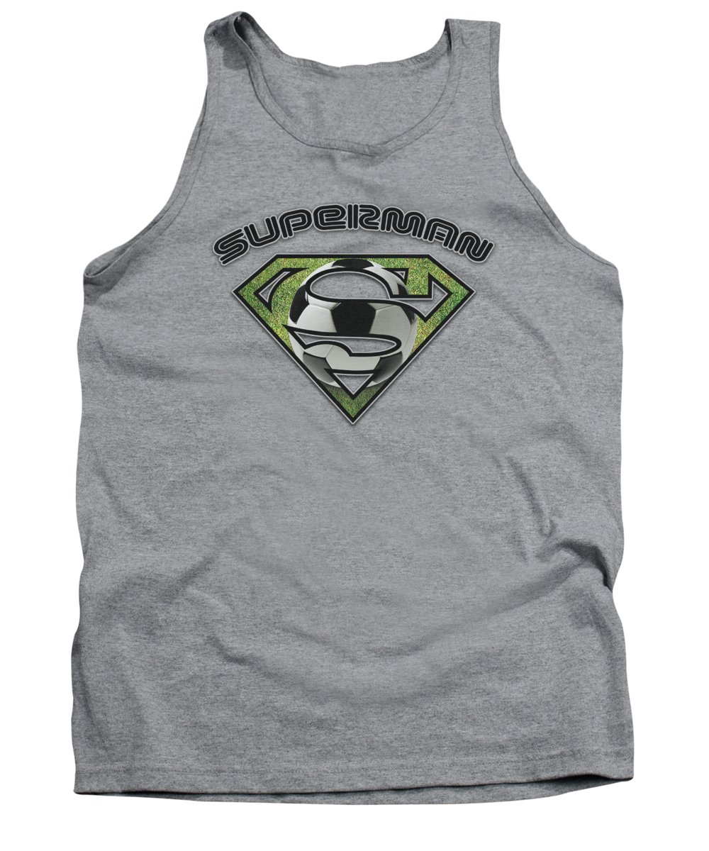 Superman Tank Top featuring the digital art Superman - Soccer Shield by Brand A