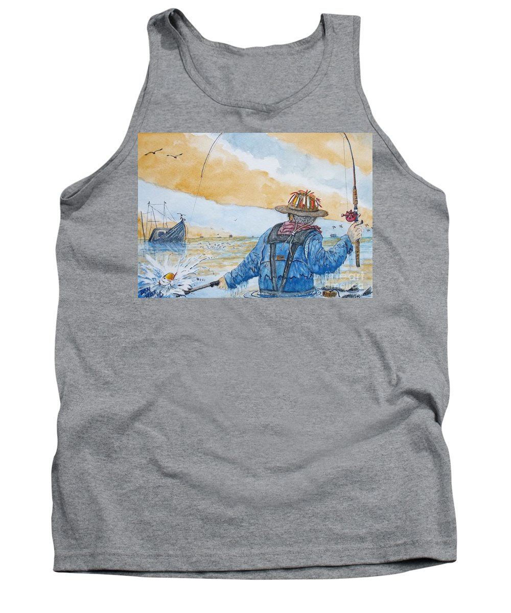 Scenic Landscape Tank Top featuring the painting Surf Trout Fishing by Don Hand