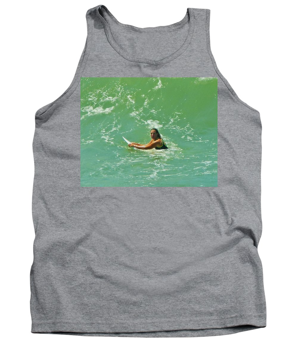 Mark Lemmon Cape Hatteras Nc The Outer Banks Photographer Subjects From Sunrise Tank Top featuring the photograph Surfer Hatteras Island 2 7/13 by Mark Lemmon