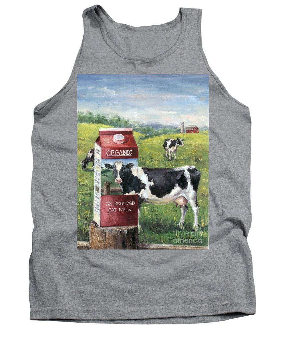 Cow Tank Top featuring the painting Surreal Cow by Nicole Troup